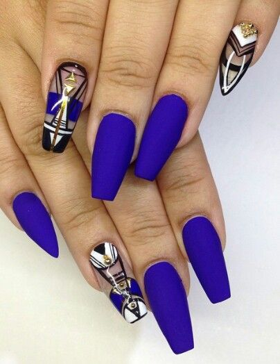 Matte Nail Design Nails Pinterest Una Decoradas Unas Azules