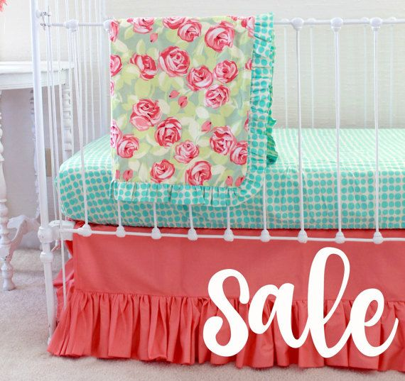 Floral Nursery Bedding Prepossessing Sale * Coral And Turquoise Crib Bedding  Baby Girl Bedding  Floral Design Inspiration
