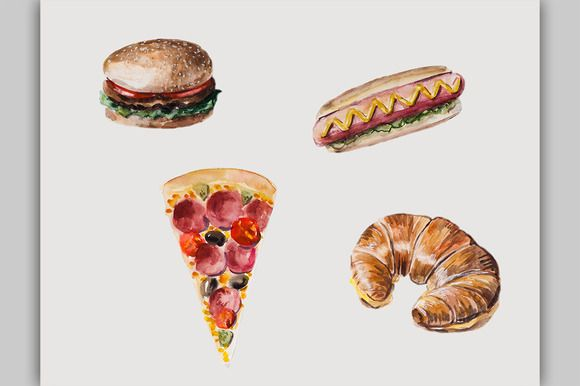 Check out Fast food by maria.kytyzova on Creative Market