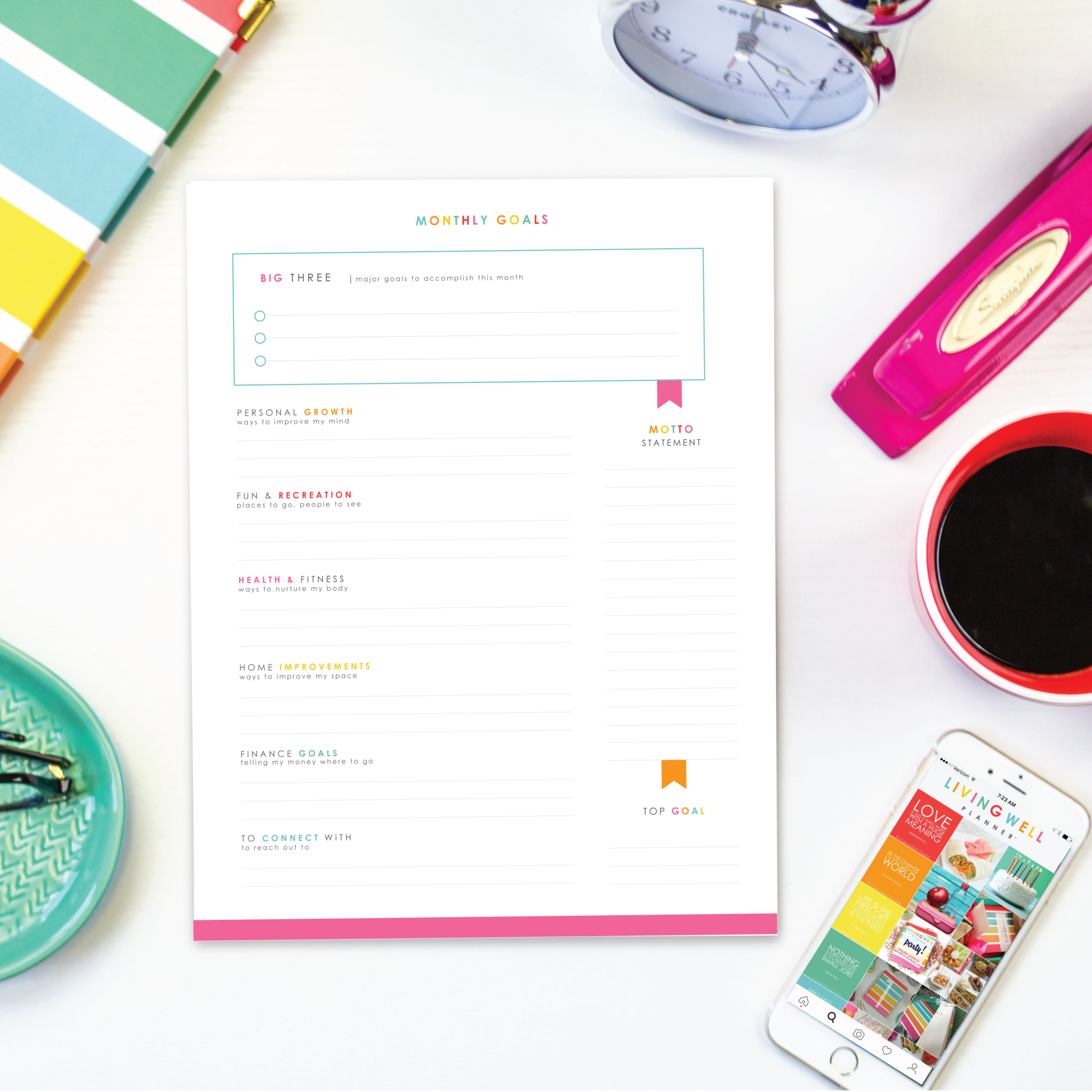 Monthly Goal Worksheet Digital Download