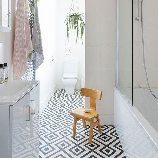 Black And White Cement Tile Floor Shower Baseboards