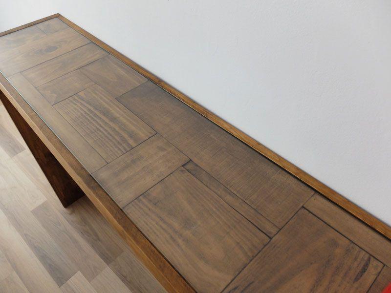 Mesa madera pino con retales y cristal #mobiliario #muebles #mesa ...