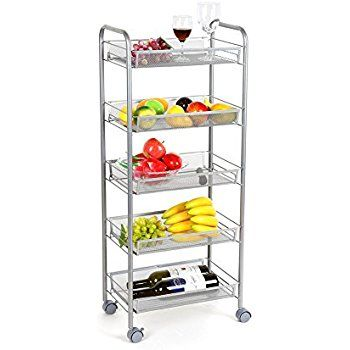 amazon kitchen cart ashley furniture table com homfa 4 tier gap storage slim slide out tower rack shelf with wheels utility trolley organization serving on casters