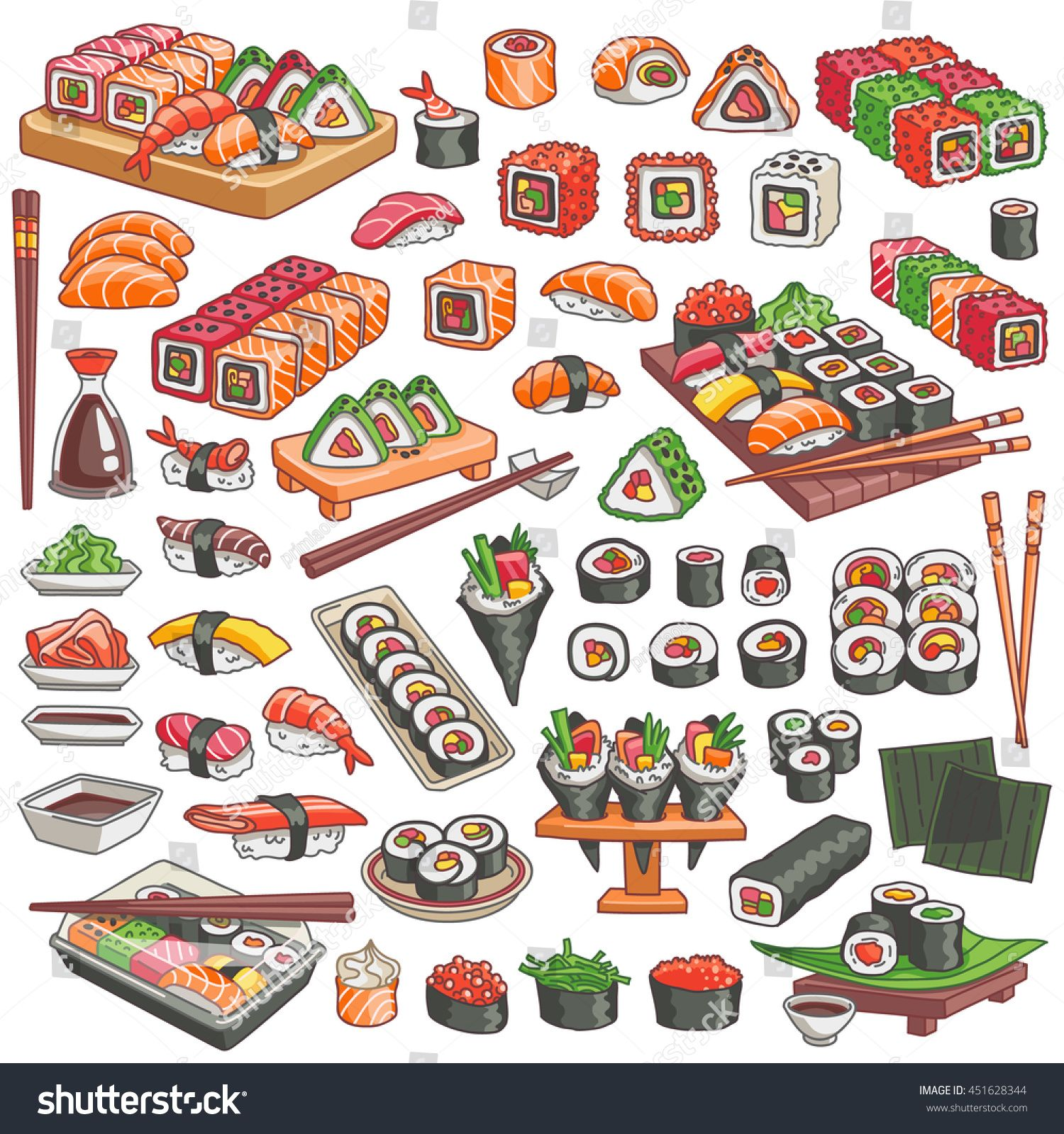 Colorful Sushi And Rolls Set Japanese Traditional Cuisine