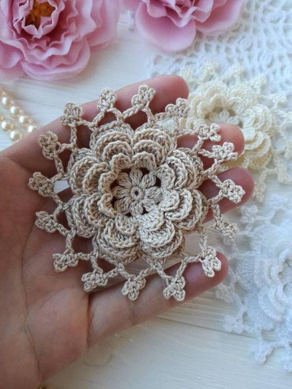 Crochet flower. lace flower. Scrapbook flower. Beife flower