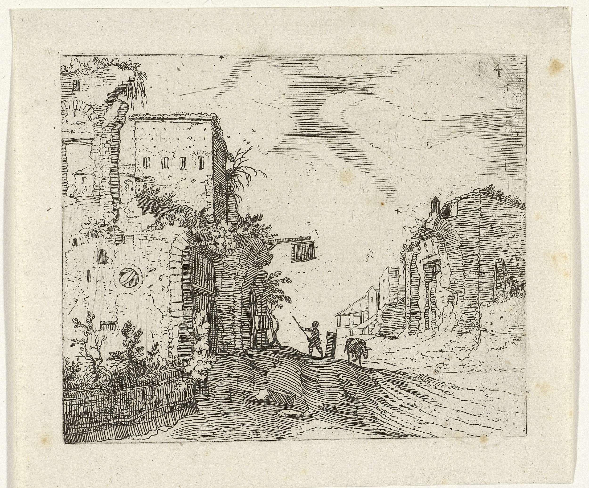 Willem van Nieulandt (II) | Weg tussen ruïnes, Willem van Nieulandt (II), 1594 - 1618 | Een weg met ruïnes aan weerszijden. Rechts hangt aan de muur een uithangbord. Op de weg staan een man met een stok en een ezel. Prent uit een serie Romeinse ruïnes.
