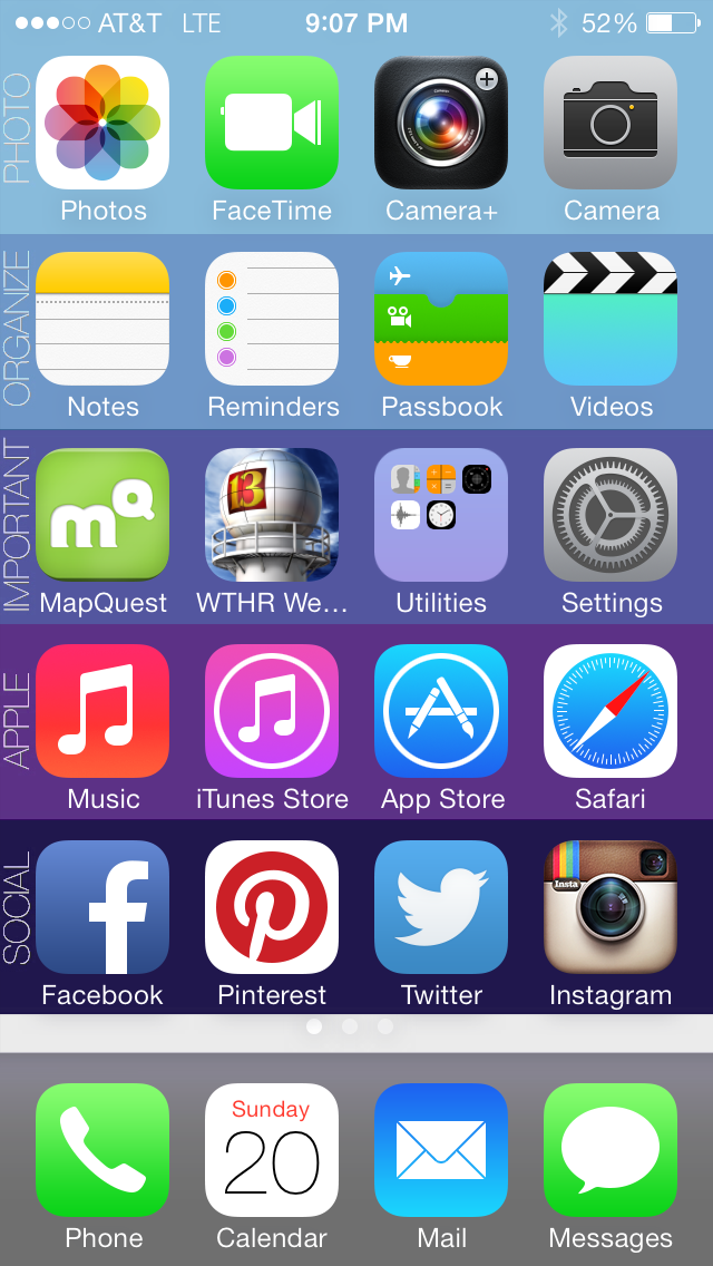 The way my brother has organized his iPhone apps Iphone