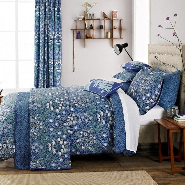 V a columbine periwinkle blue duvet cover set home - Bedroom comforter and curtain sets ...