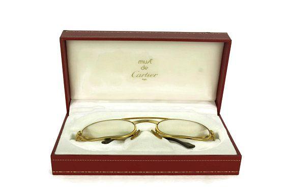 c661b6d2d129 Vintage Cartier Glasses. French Designer Gold Eyeglasses Frames in Must De Cartier  Box. Luxury
