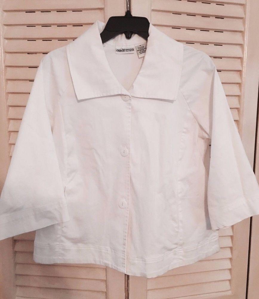Ladies White 3/4 Sleeve Lightweight Cotton/Spandex Jacket Size M ...