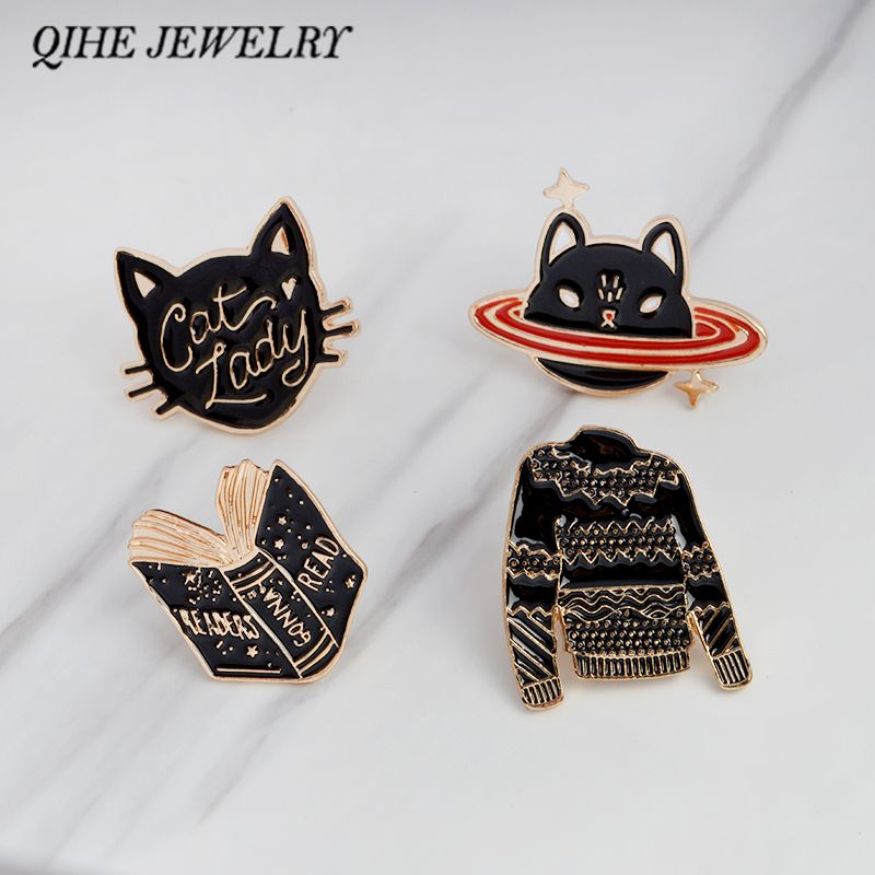 Cheap brooches for women, Buy Quality lapel pin brooch directly from China pin brooch Suppliers: Enamel pins Cat lady Space car book sweater black pins Lapel pin Brooches for women Cat jewelry broches para as mulheres