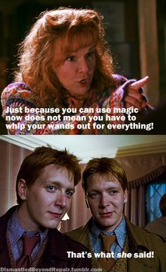 That S What She Said Fred And George Weasley George Weasley Harry Potter Funny