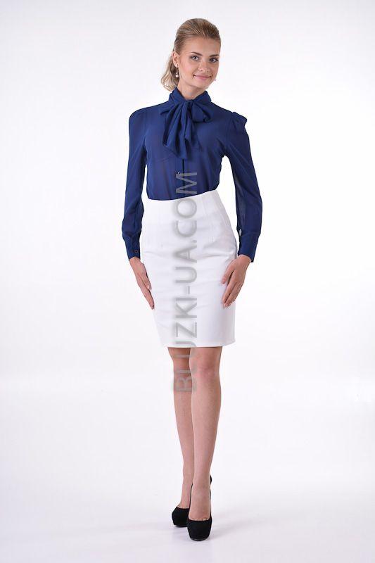 03657c8309f Шифоновая блузка с шарф-бантом темно-синяя в стиле Коко Шанель ...