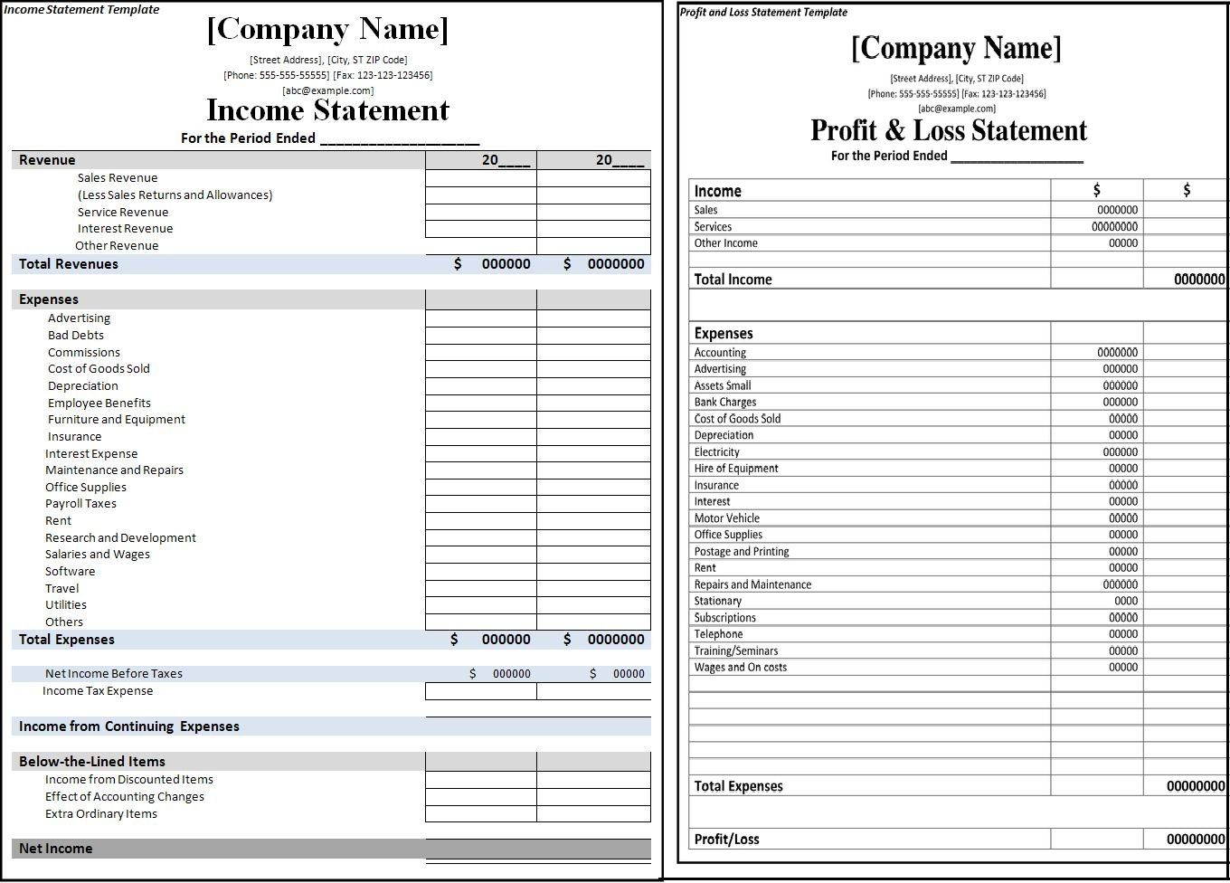 Here We Are Going To Share Some Printable Profit And Loss Statement Format  Excel, Word U0026 PDF Templates In Which You Can Note Down Your Expansion And  Income.  Printable Income Statement