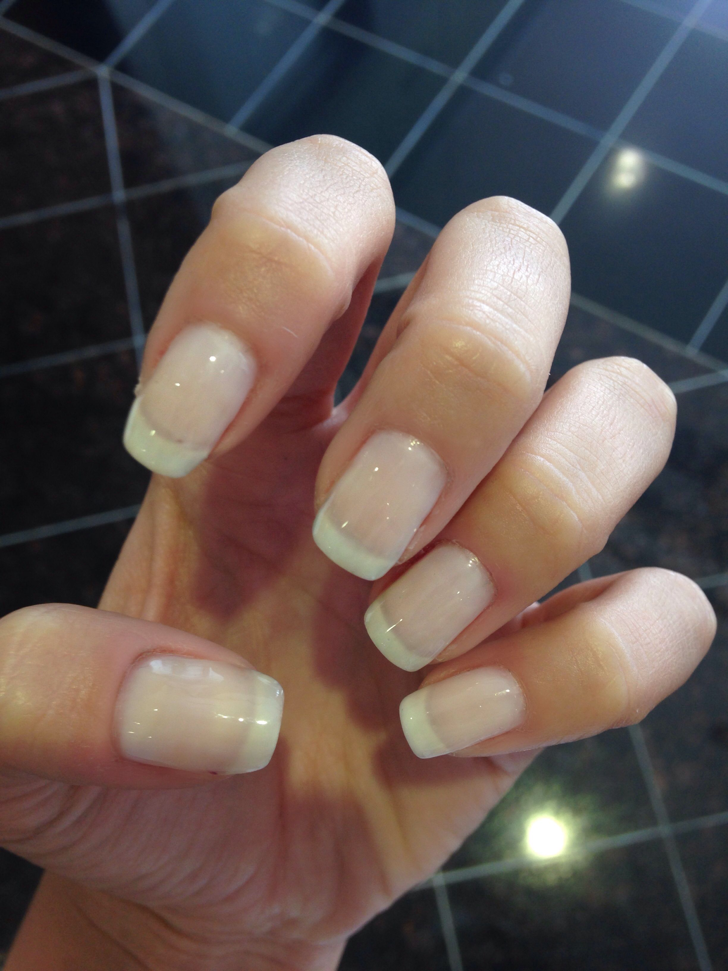 Essie allure American French manicure square round nails | Nails ...