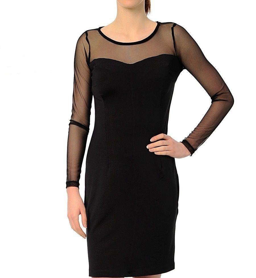 Schwarze Kleid,transparent langen Ärmeln Abendkleid,Cocktailkleid