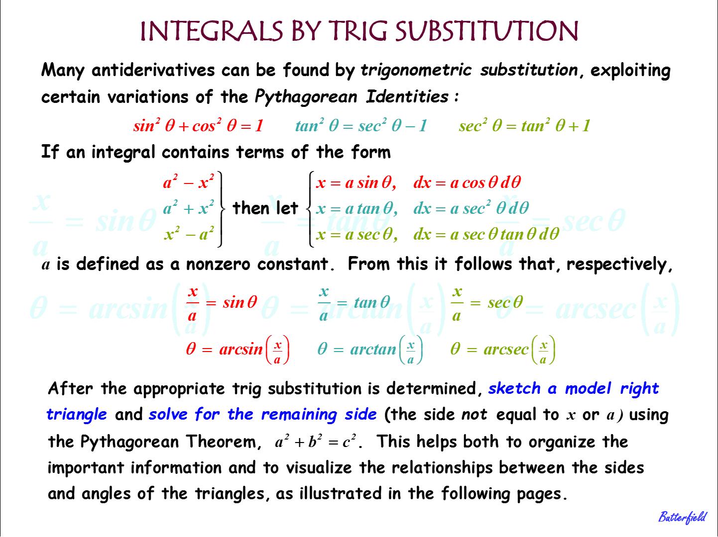 Trig Substitutions For Integrals 1 Calculus Mathematics Math