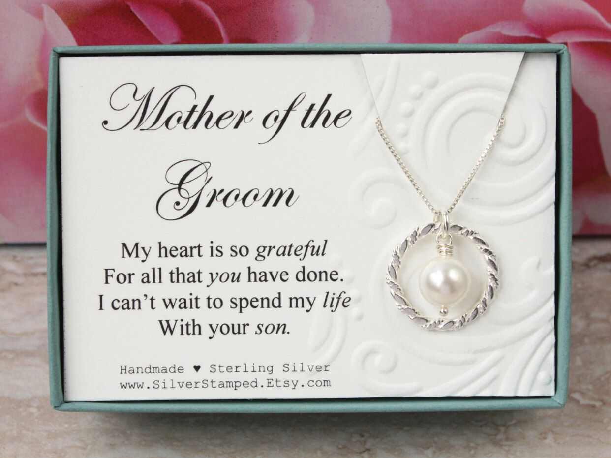 Gift For Mother Of The Groom From Bride Sterling Silver Swarovski Pearl Necklace Bridal Party