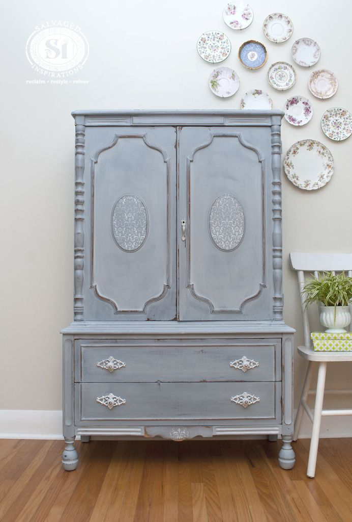 French Country Armoire   Miss Mustard Seedu0027s Shutter Gray | Created By  Denise @ Salvaged Inspirations