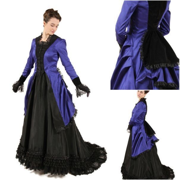 BLUE AND BLACK 1800's BUSTLE DRESS #dressesfromthesouthernbelleera Step back in time with this beautiful Vintage Bustle Dress from the Victorian era!  Please note that the petticoat is included! #dressesfromthesouthernbelleera BLUE AND BLACK 1800's BUSTLE DRESS #dressesfromthesouthernbelleera Step back in time with this beautiful Vintage Bustle Dress from the Victorian era!  Please note that the petticoat is included! #dressesfromthesouthernbelleera