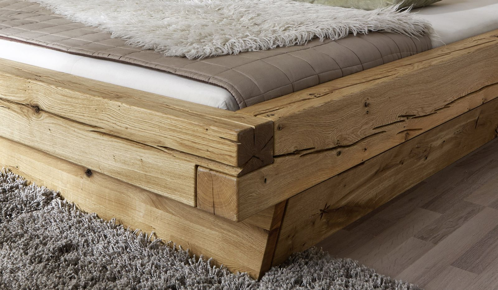 Bettkasten Holz ~ Sam® balkenbett jakob mit schubkästen massiv 200x200 cm demnächst