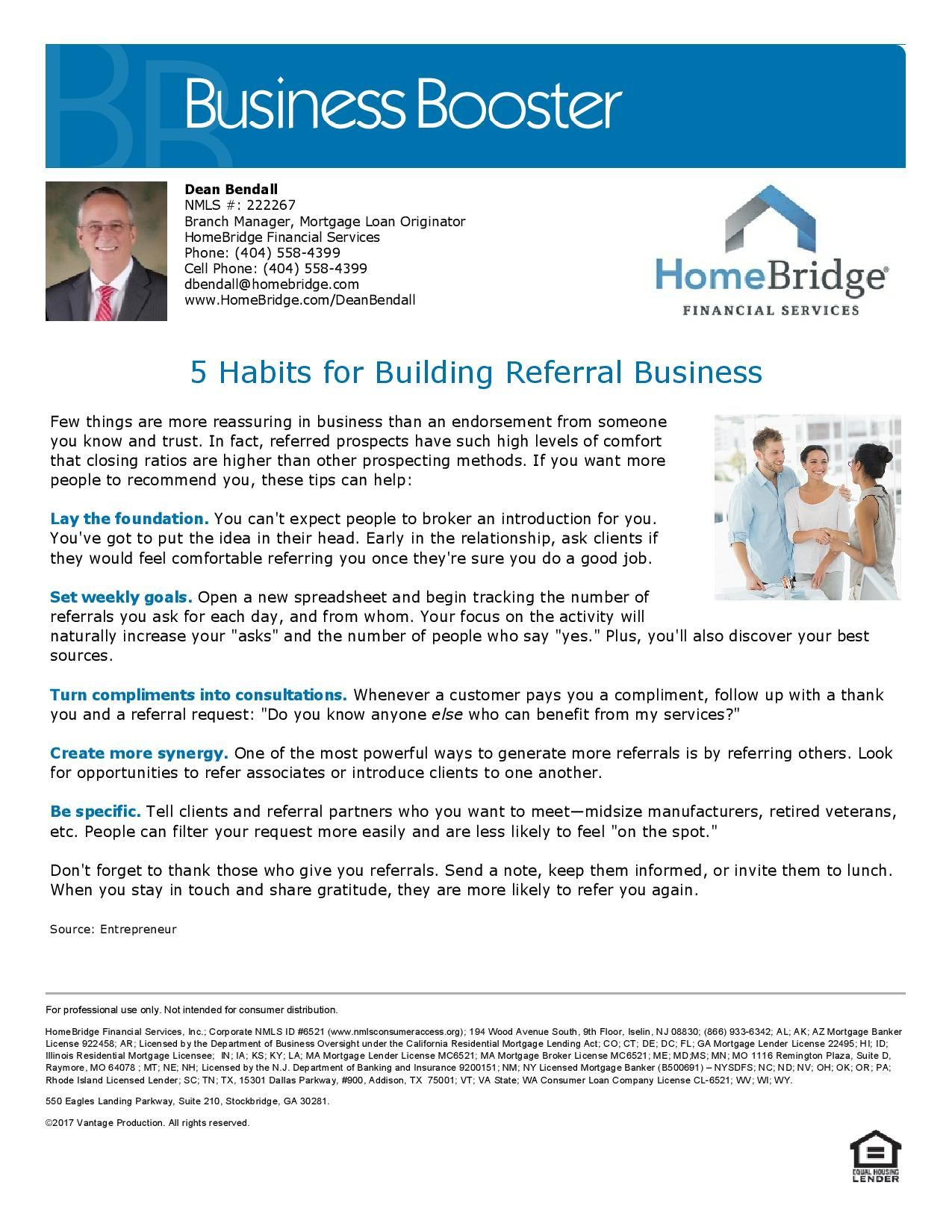 Habits For Building Referral Business Dean Bendall Mortgage