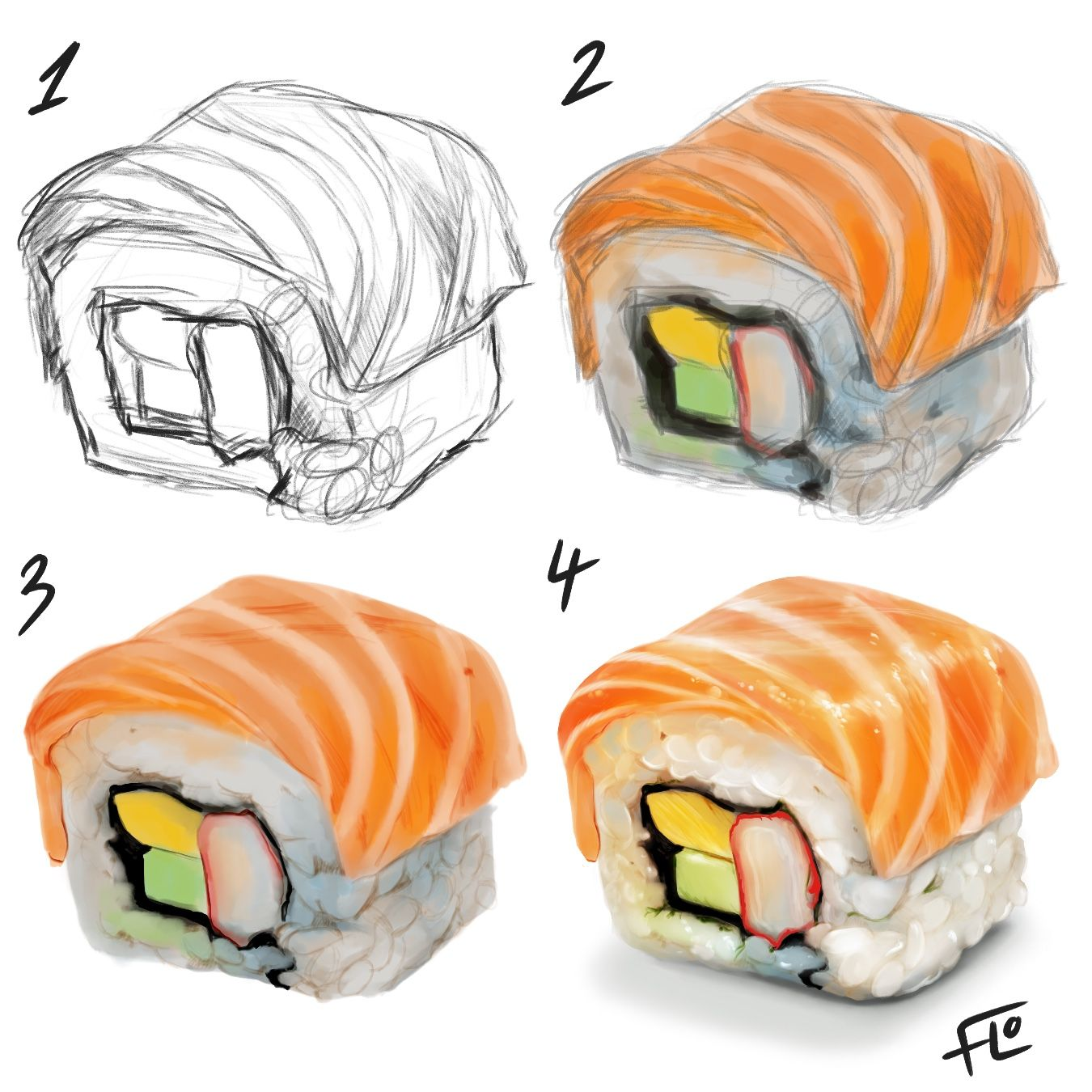 Photo of Sushi! Digital Art step by step