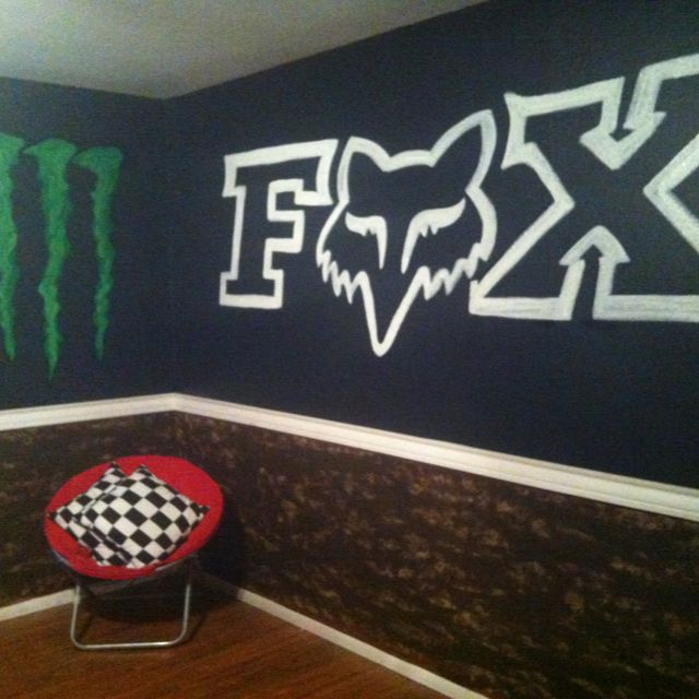 Would be cool for young motocrosser bedroom  FOX Motocross Dirtbike decor. Trickin out my gameroom motocross style    grandboys will Love