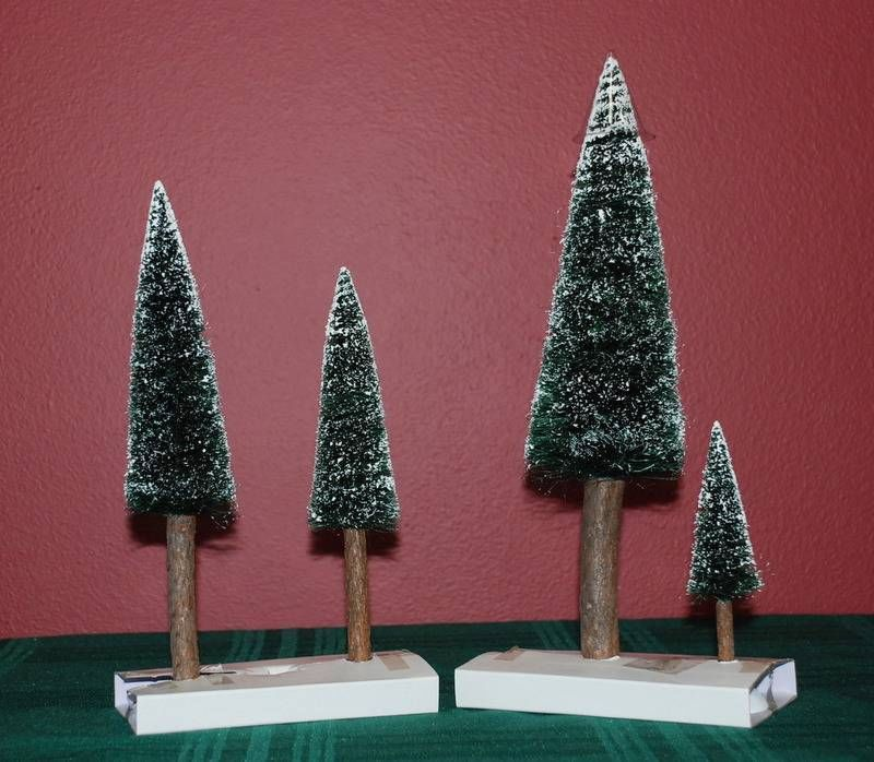 """Dept 56 """"VILLAGE FROSTED FIR TREES"""" With Real Wood Trunks, Set of 4 #52605 MIB"""