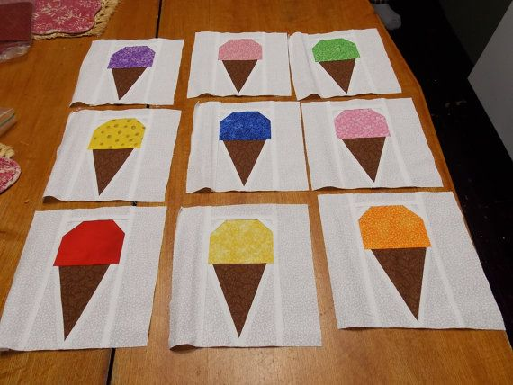Nine 9 7 Inch Square Ice Cream Quilt Blocks By