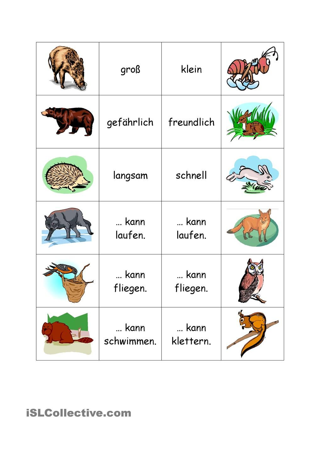 Waldtiere Worksheets and School
