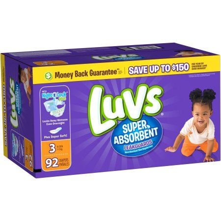 Luvs Super Absorbent Leakguards Diapers, Size 3, 92 Diapers Diaper