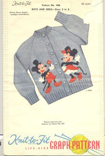 Vintage Mickey Minnie Mouse Sweater Graph Pattern Knit to ...