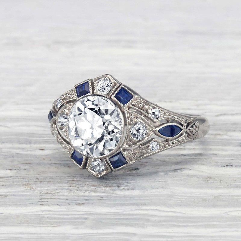 7478a018fc7a 1.5 Carat Classic Art Deco Diamond Engagement Ring 14K White Gold Over
