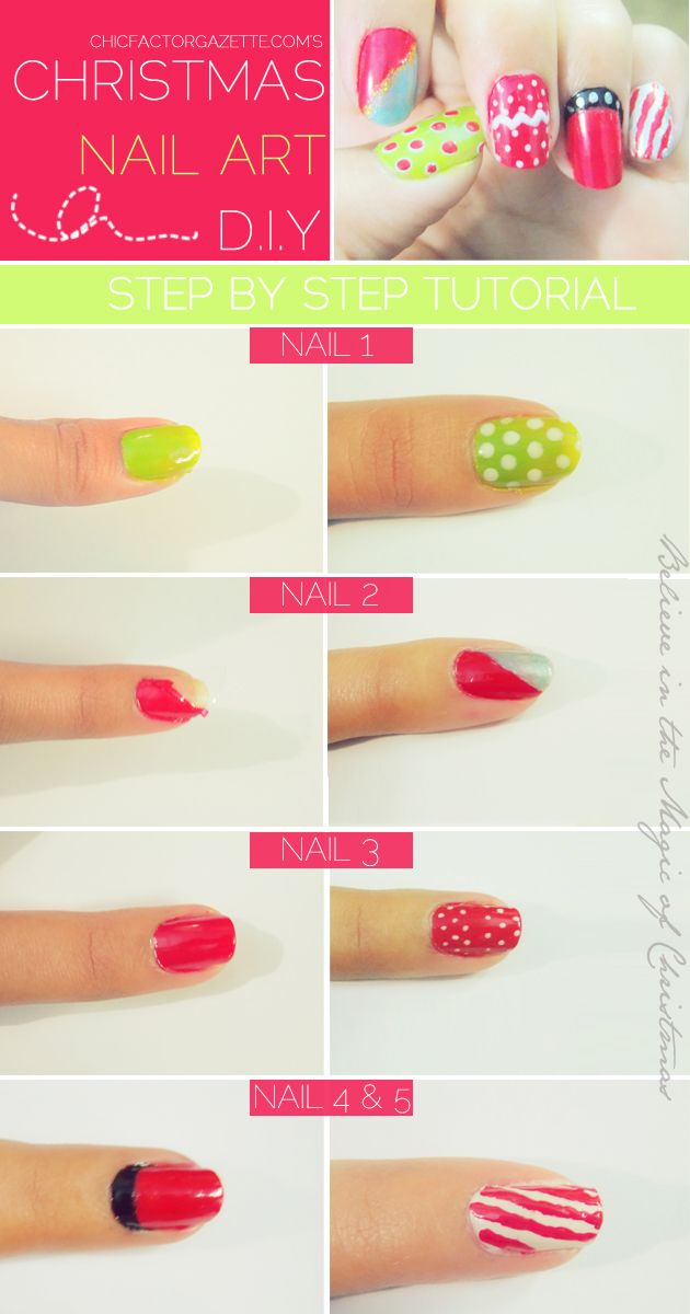 Here\'s how your quick and easy super cute DIY Christmas Nail Art ...