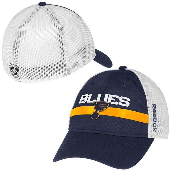 cb8bcf242ce Mens St. Louis Blues Reebok Royal Blue Center Ice Player Flex Hat ...