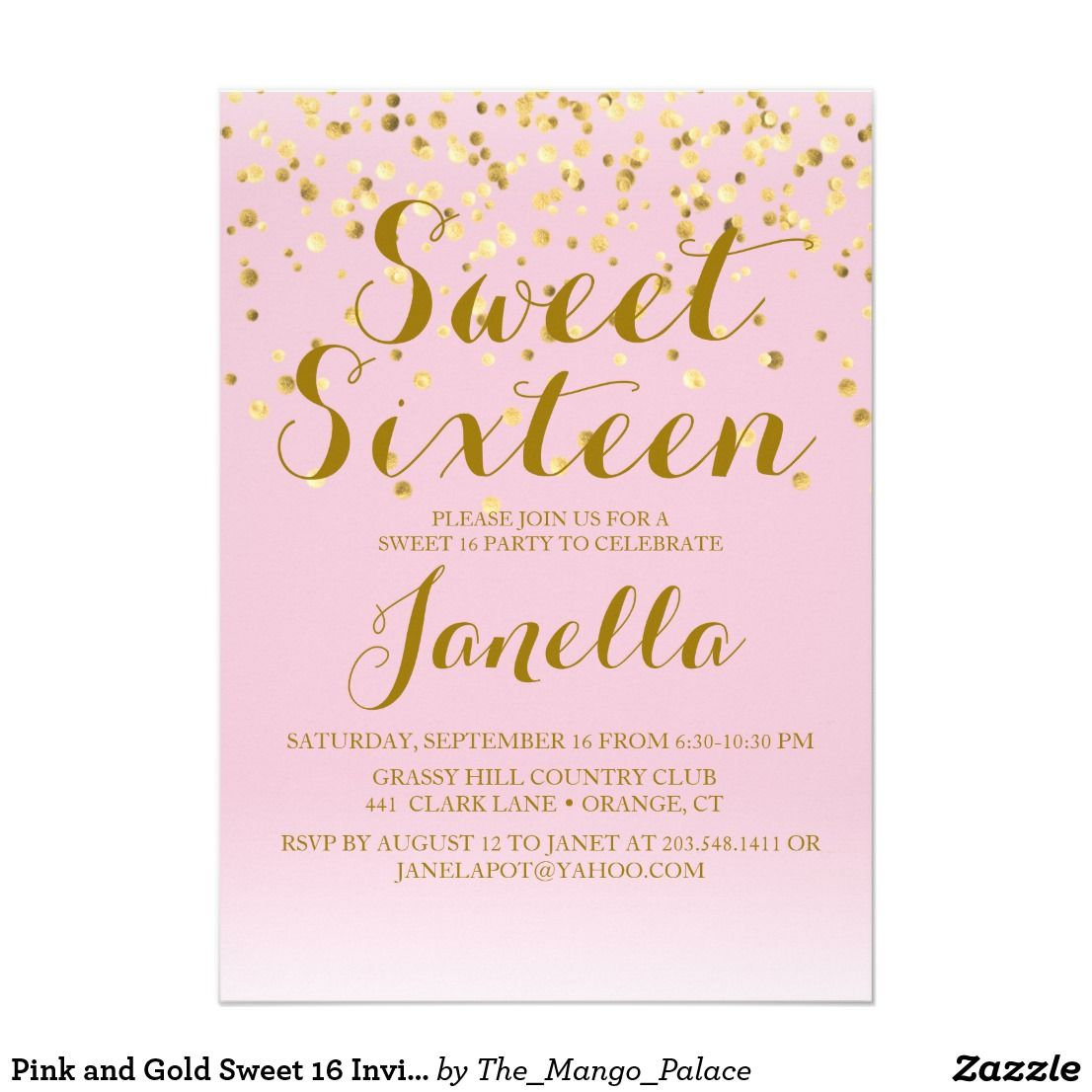 Pink and Gold Sweet 16 Invitation | Sweet 16 invitations, Sweet 16 ...