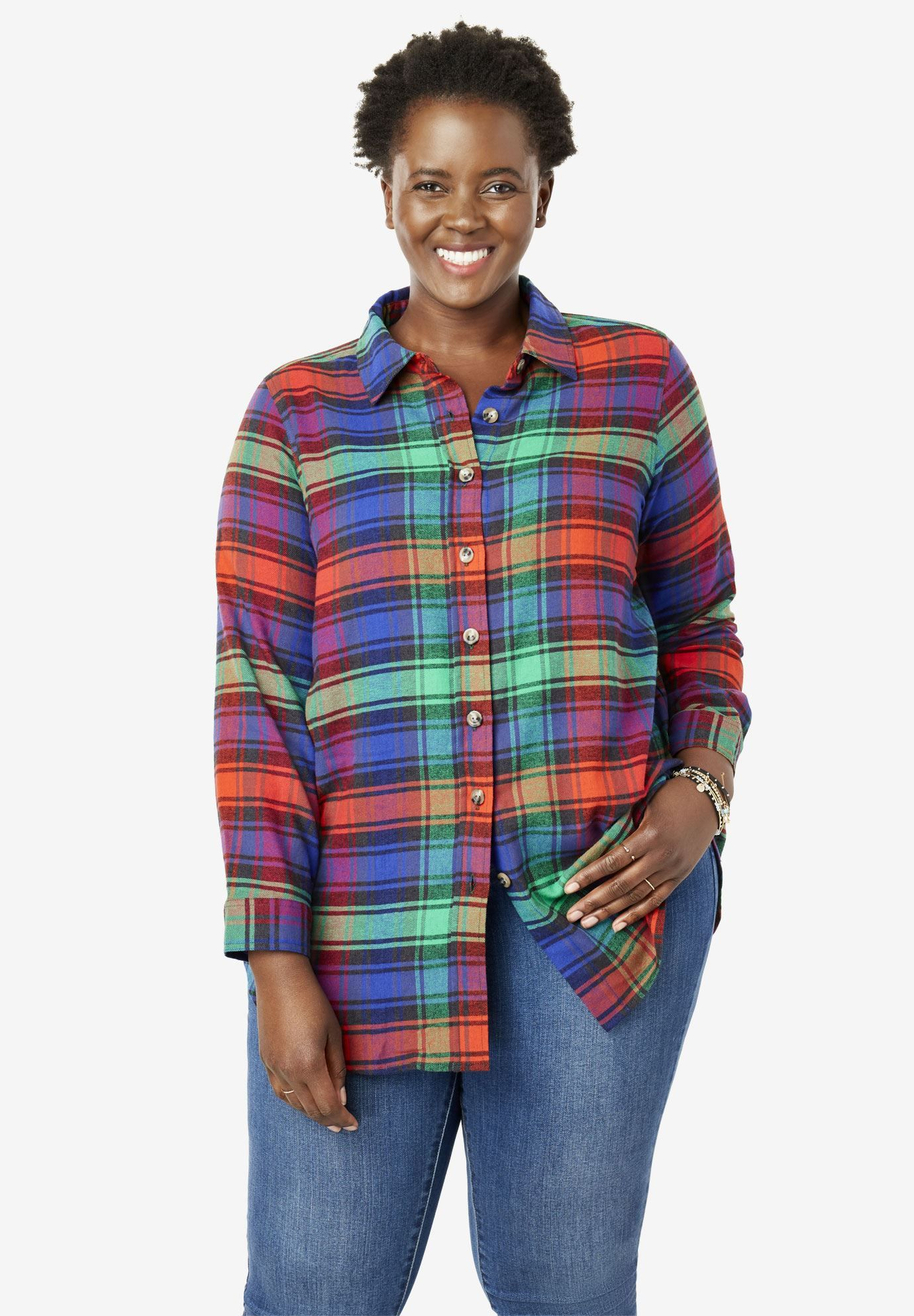 23eb91d5cc1bd Classic Flannel Shirt - Women's Plus Size Clothing | Products ...