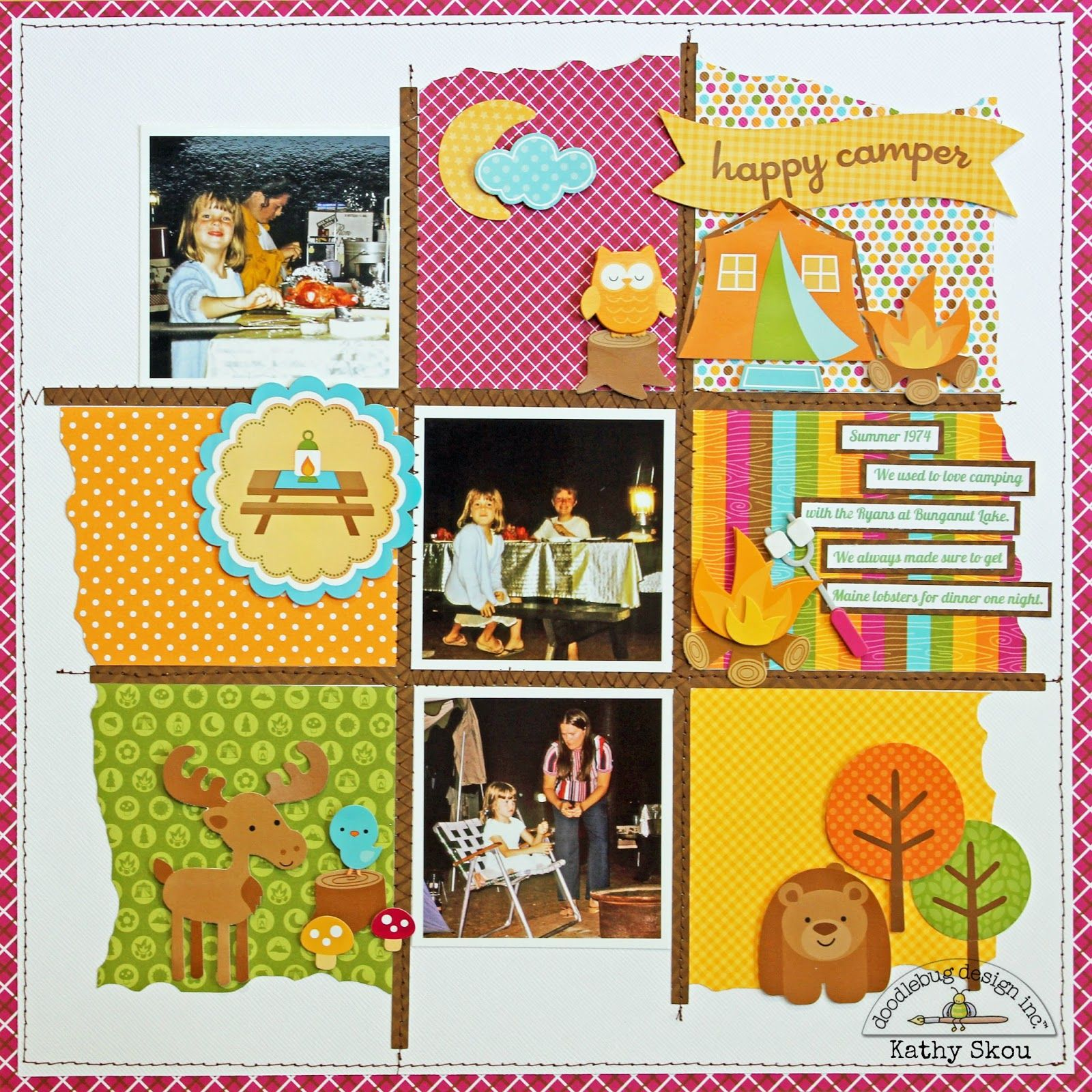 How to design scrapbook layouts -  Papercraft Scrapbook Layout Happy Camper Layout By Kathy Skou From Doodlebug Design