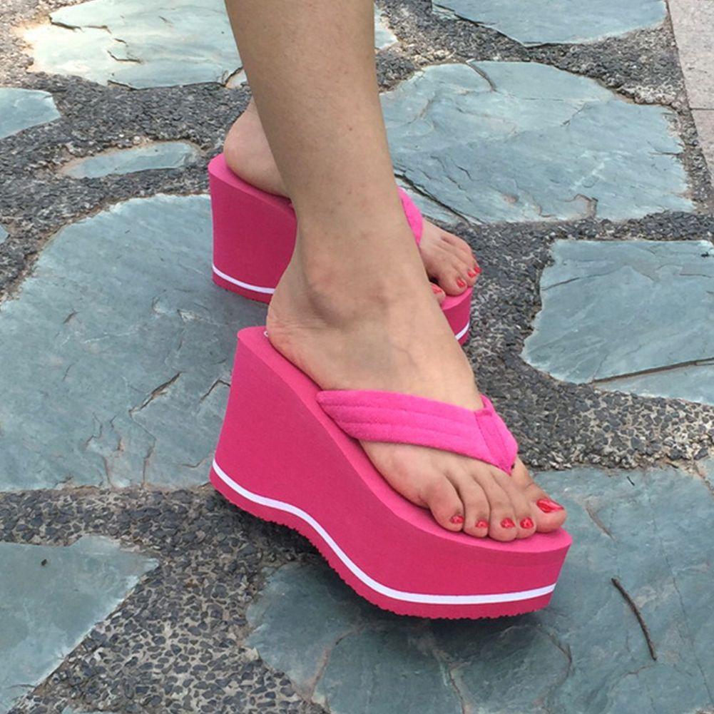 Women Summer Wedge Thong Platform Flip Flops Sandals Beach Casual Slippers  Shoes