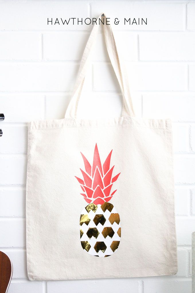 25d7ec87656 DIY Pineapple Bag made with my Silhouette CAMEO using heat transfer  material - HAWTHORNE   MAIN