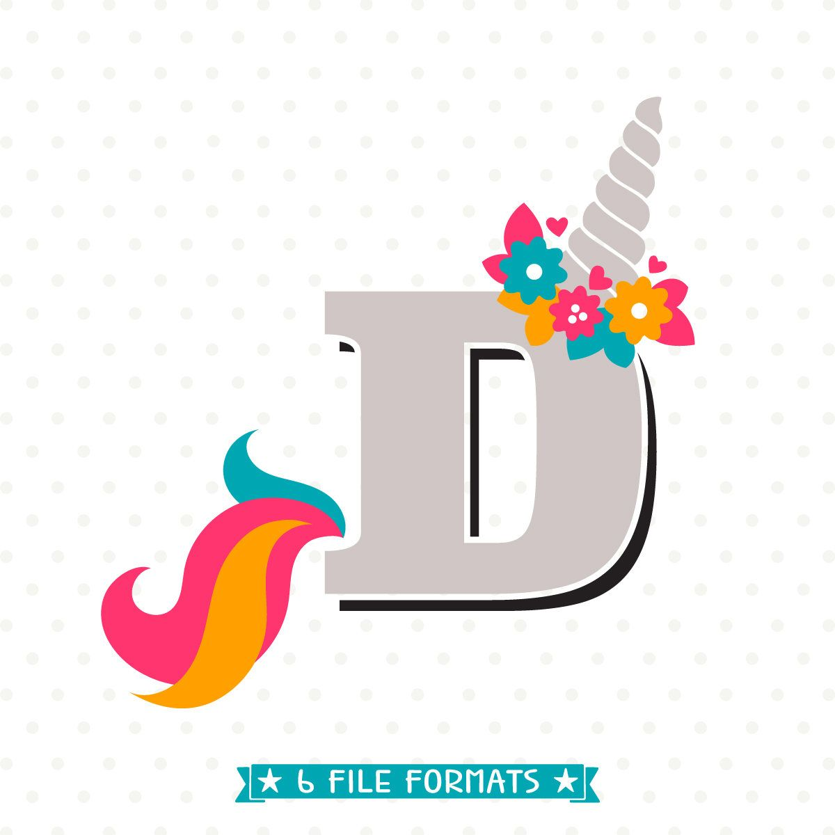 Letter D SVG Cut File Unicorn Monogram