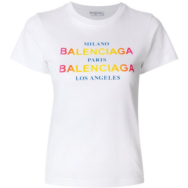 5d99431837fe Balenciaga Printed T-Shirt ($405) ❤ liked on Polyvore featuring tops, t- shirts, white, logo tee, holiday tops, short sleeve t shirt, holiday tees  and white ...