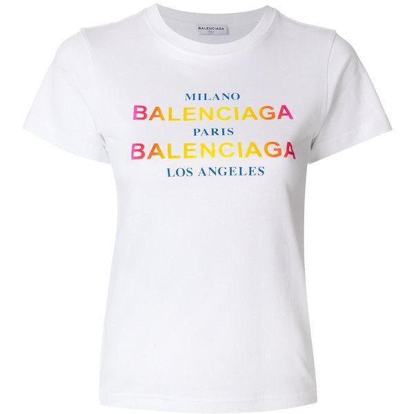 dbe669bf9859 Balenciaga Printed T-Shirt ($405) ❤ liked on Polyvore featuring tops, t- shirts, white, logo tee, holiday tops, short sleeve t shirt, holiday tees  and white ...