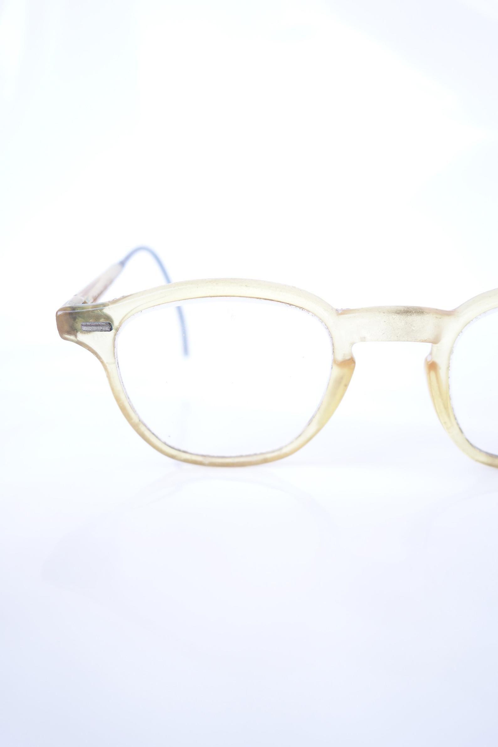 1960s horn rim safety glasses light clear apricot vintage