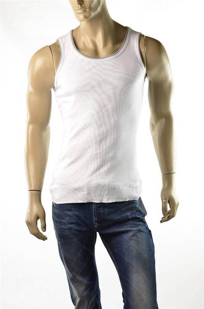 0b8d6575b96956 Guess White Tank Top T-shirt Mens Ribbed Cotton Bro Shirts NWT Shirt Sz M  Medium  Guess  Tank  5Gables