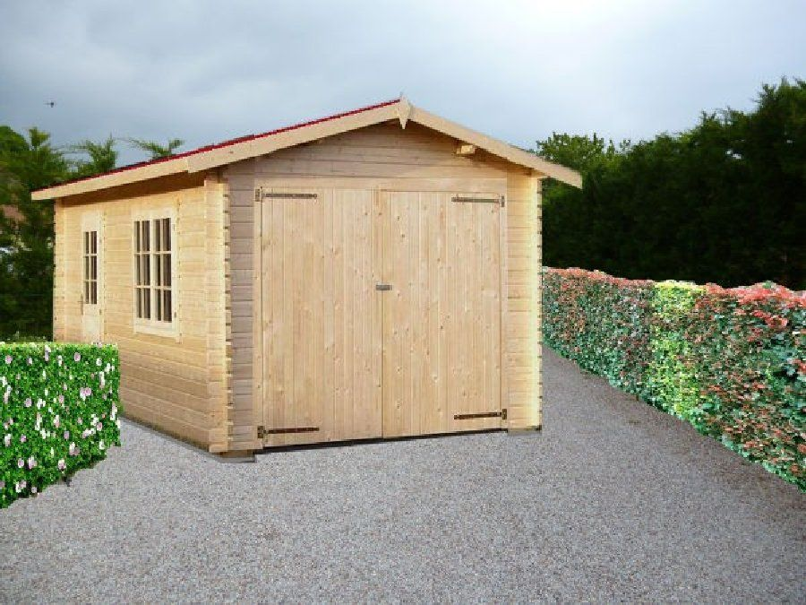 Garage en bois 17m 1 place 320x520 en paisseur 34mm for Garage dujardin 76