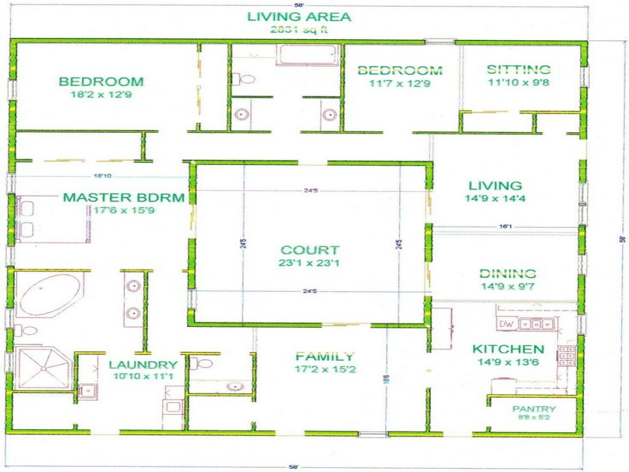 House Plan With Courtyard In Center Of House Planhome Plans Ideas Container House Plans Courtyard House Plans Courtyard House