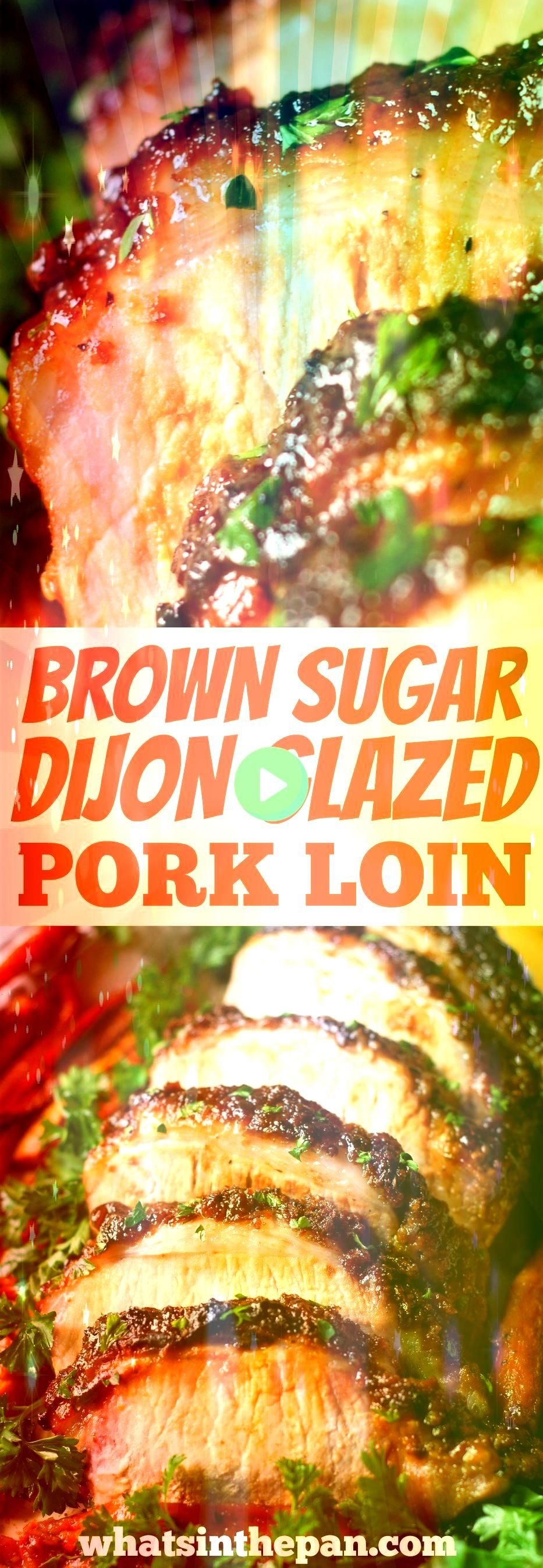 Sugar Dijon Glazed Pork Loin Brown Sugar Dijon Glazed Pork Loin is juicy on the inside and crusty on the outside We roasted our pork together with carrots and sweet potat...
