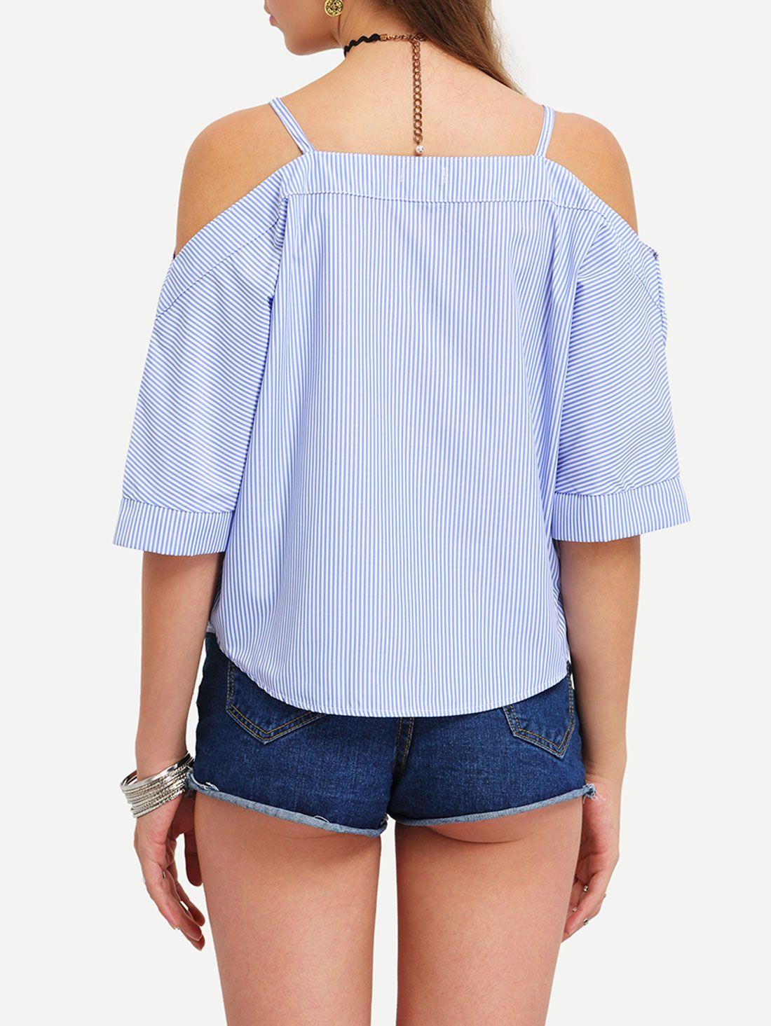 Blusa rayas verticales hombro al aire cami -Spanish SheIn(Sheinside) Sitio Móvil